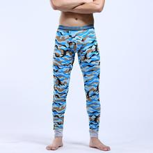 New Trend Russia China Style Supermen Brave Man Green Blue Camo Print Long Johns Slim Cotton Blend Warm Men Leggings Pants