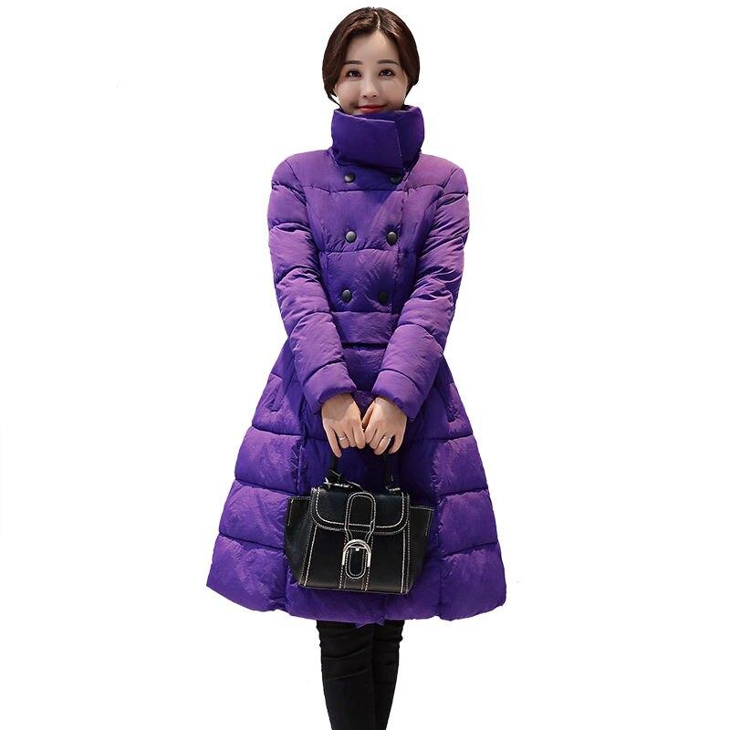 Winter Jacket Women Stand Collar Ukraine A-Line Long   Parka   Manteau Femme Hiver Down Cotton Jacket Women Purple Warm   Parkas   C3765