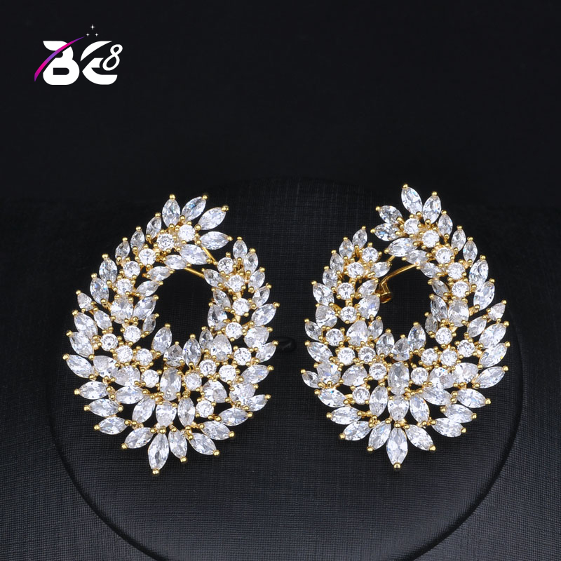 Be 8 Luxury Semi-sector Stud Earrings Top Quality Cubic Zirconia Earring New Arrival Jewellery Boucles Doreille Bijoux E780Be 8 Luxury Semi-sector Stud Earrings Top Quality Cubic Zirconia Earring New Arrival Jewellery Boucles Doreille Bijoux E780