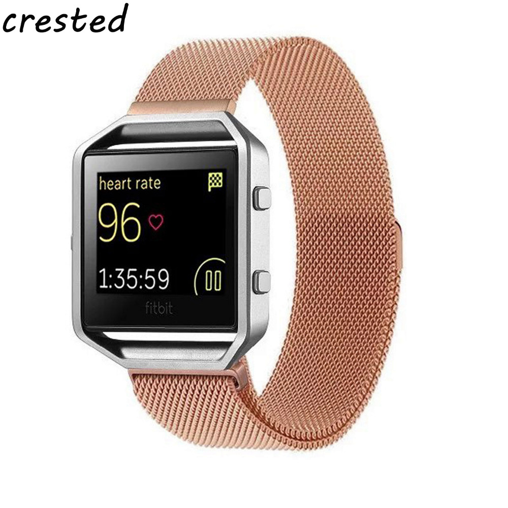CRESTED Milanese Loop Strap + Metal Frame for Fitbit Blaze Stainless Steel Watch Band Magnetic Lock Bracelet Wristwatch Bracelet fitbit blaze band large metal frame housing