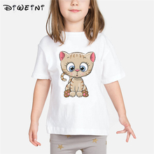 Animal Print T-shirts Baby Girls Clothes 2019 Summer Kids Tops Child Cute Cartoon White Camisetas 2 to 8 Years Toddler Tshirt