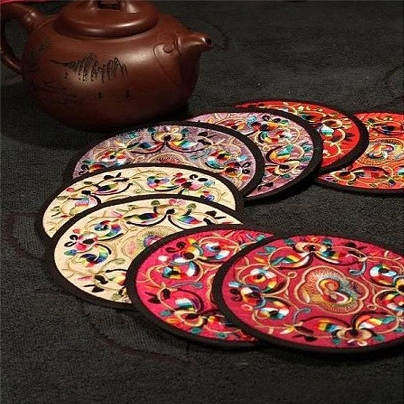 Fashion 10Pcs Non-woven Embroidery Floral Pattern Ethnic <font><b>Coaster</b></font> Tribal <font><b>Cup</b></font> Teapot <font><b>Mat</b></font> <font><b>Drink</b></font> <font><b>Holder</b></font> Floral Tableware <font><b>Placemat</b></font>