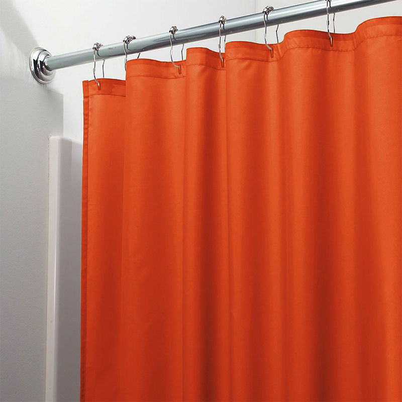 Image 5 - Light Solid Polyester Shower Curtain Mildew Resistant Bath Curtain For Hotal Waterproof Fresh Durable Bathroom Partition Curtain-in Shower Curtains from Home & Garden