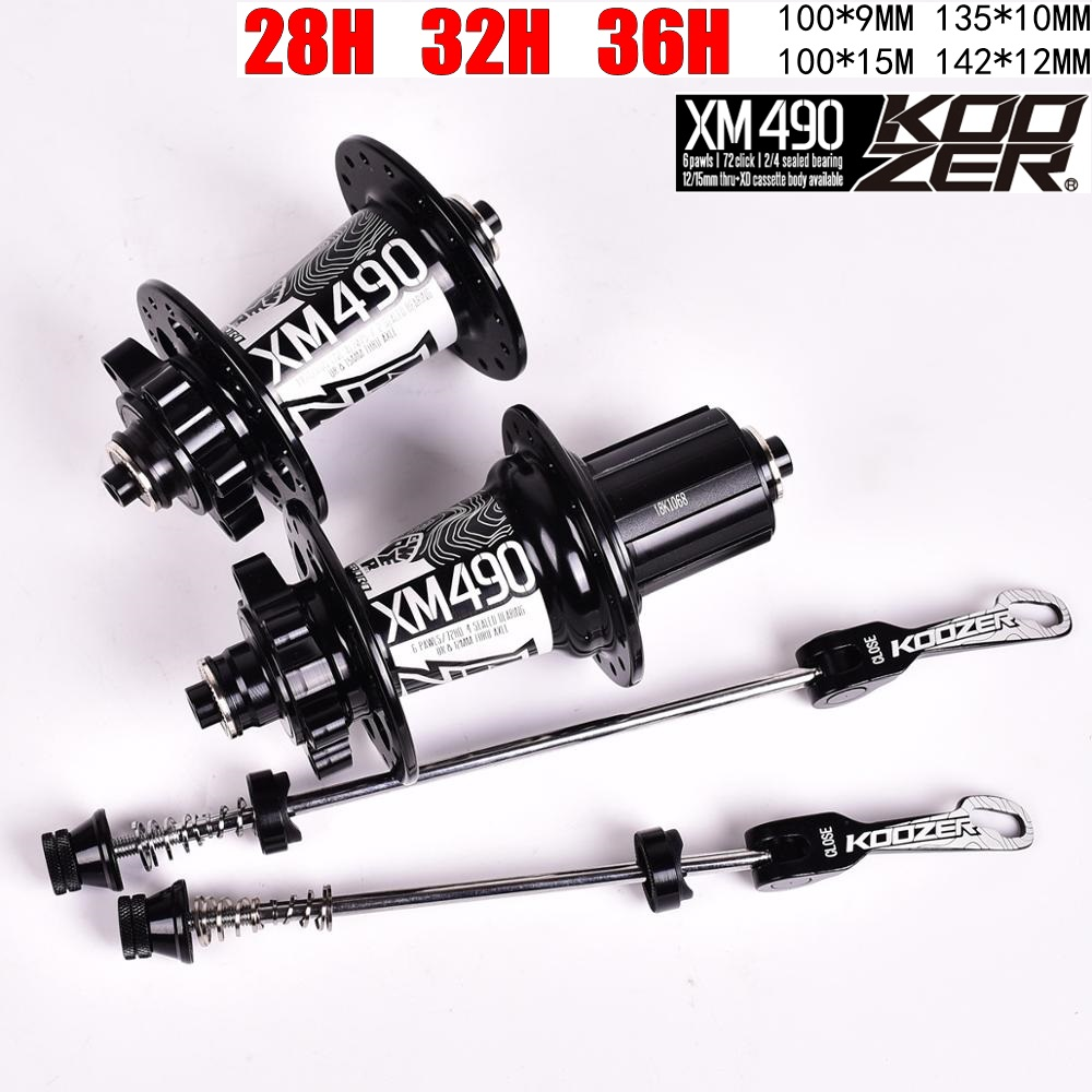 Koozer MTB Disc Brake Hub 28/32/36 Holes 4 Bearing Mountain Bike Hub Rear 10*135mm QR 100*15 12*142mm Thru Bicycle Hub XM490