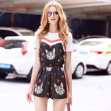 Fairy Dreams Women Two Piece Set Jumpsuit White T Shirt Black Cap Print Playsuits Casual Fashion Clothing 2017 Summer Rompers