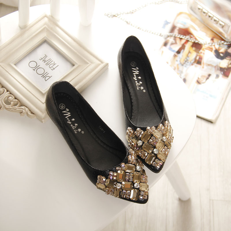 2016 Flats Shoes Women Ballet Princess Shoes For Casual Crystal Boat Shoes Rhinestone Women Flats PLUS Size 34-43 fashion pointed toe women shoes solid patent pu brand shoes women flats summer style ballet princess shoes for casual crystal
