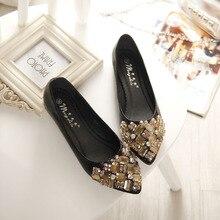 2020 플랫 신발 여성 발레 공주 신발 캐주얼 크리스탈 보트 신발 라인 석 여성 플랫 플러스 크기 34 43