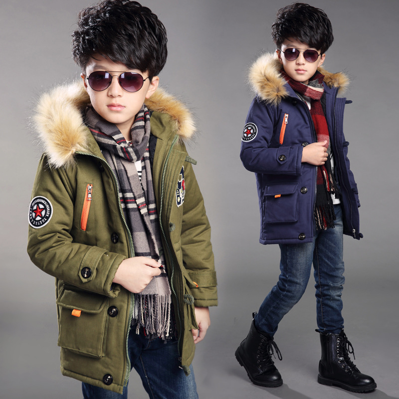 5 14Medium long Winter Coat for boy padded cotton jacket 2019 new Children Boys thick warm winter jacket hooded coat with Fur