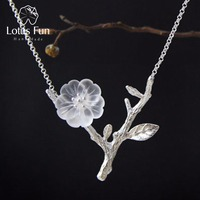 Genuine 925 Sterling Silver Necklace Handmade Jewelry Very Delicate Flower Design Pendant Necklace For Women Created