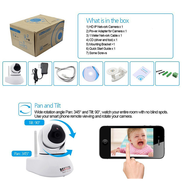 Daytech IP Camera Home Security WiFi Camera Night Vision Infrared Two Way Intercom 720P Baby Monitor Motion Detection DT-C8817