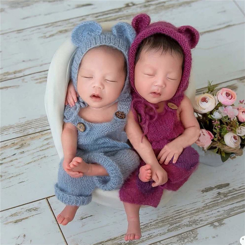 Newborn Photography Props Soft Mohair Baby Hat+Suspenders Outfits Newborn Shooting Crochet Costume Baby Photo Props Accessories