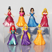7pcs/Lot Princess Figure Snow White Ariel Rapunzel Merida Cinderella Aurora Belle Princess Sex Toy Kids Doll Dress SA487