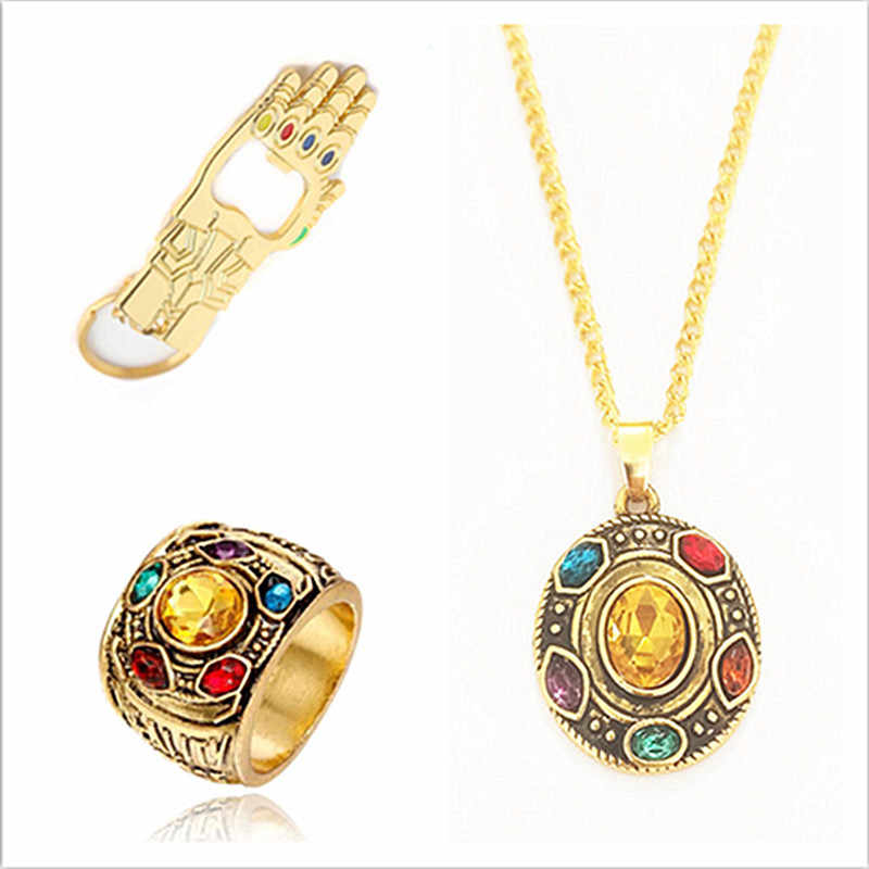 Avengers Thanos Infinity stones Necklace crystal round charms pendant men women fashion jewery