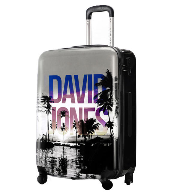 DAVIDJONES 24 inches 1 Piece Spinner Luggage lightweight Vintage Print suitcase Holiday Traveller case box with spinner wheels