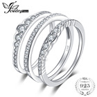 JewelryPalace 0.7ct Cubic Zirconia 3 Pcs Stackable Wedding Band Anniversary Engagement Ring Bridal Sets Real 925 Sterling Silver