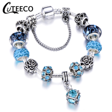 CUTEECO 2019 New Style Crystal Pendant Charm Bracelet For Women fit Original Brand Female Jewelry Girlfriend Gift