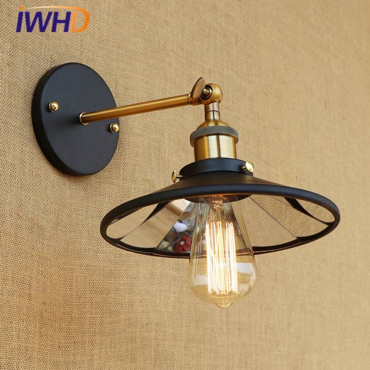 цена на IWHD RH Loft LED Wall Light Lens Lampshade Vintage Industrial Wall Lamp Retro Bedside Lights Fixtures Home Lighting Luminaire