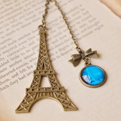 Antique Bronze Eiffel Tower Glass Gemstone Pendant Bookmark School Office Supply Escolar Papelaria Gift Stationery