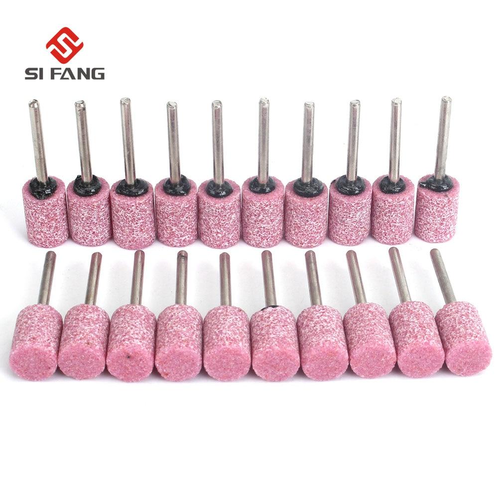 50Pcs 3/4/5/6/8/10/12mm Dia Pink Cylinder Cone Corundum Grinding Head Polishing Polisher Head Ceramic Drill Bit Tools 3mm Shank