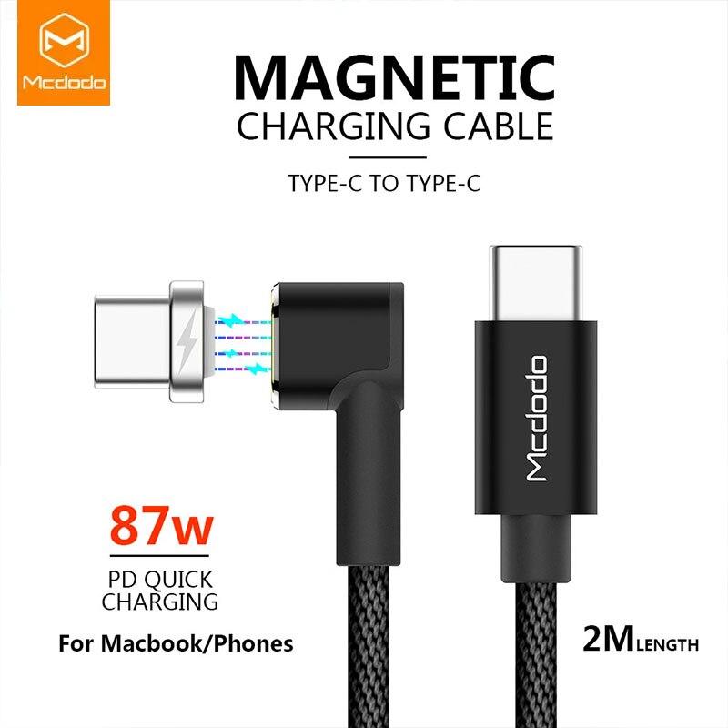 MCDODO USB c à USB-C câble 4.5A 87W PD Type c à type-c mâle pour Samsung S9 commutateur Macbook données synchronisation magnétique USB c câble de harger