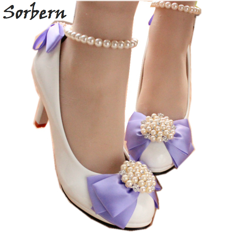 Sorbern Light Purple Satin Bow Wedding Party Shoes For Women 8Cm 5Cm 3Cm Heels White Bridal