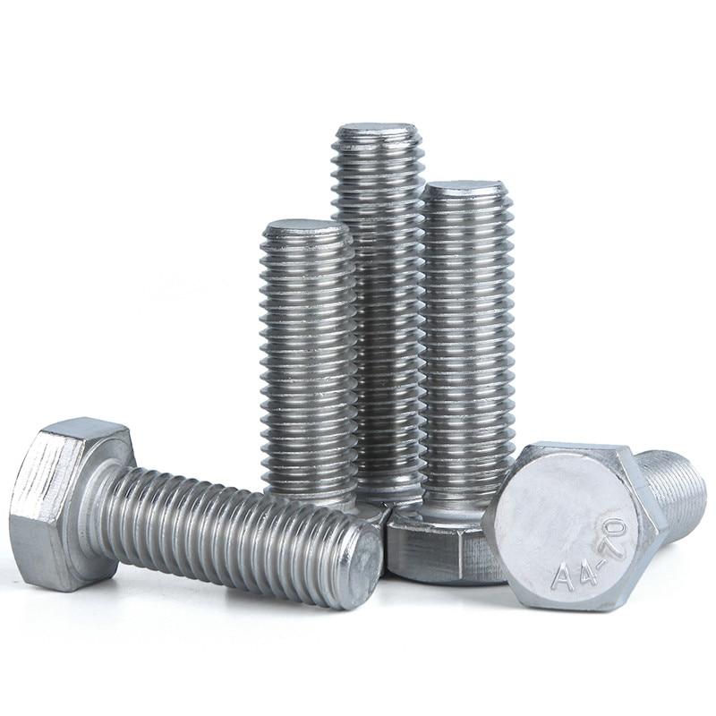 2 uds M10 DIN933 316 tornillo hexagonal de acero inoxidable M5M6M8M10 tornillo de cabeza hexagonal exterior de cobre cabeza Hexagonal tornillo conductor DIN933 GB5783 ISO 4017 JIS B 1180,4