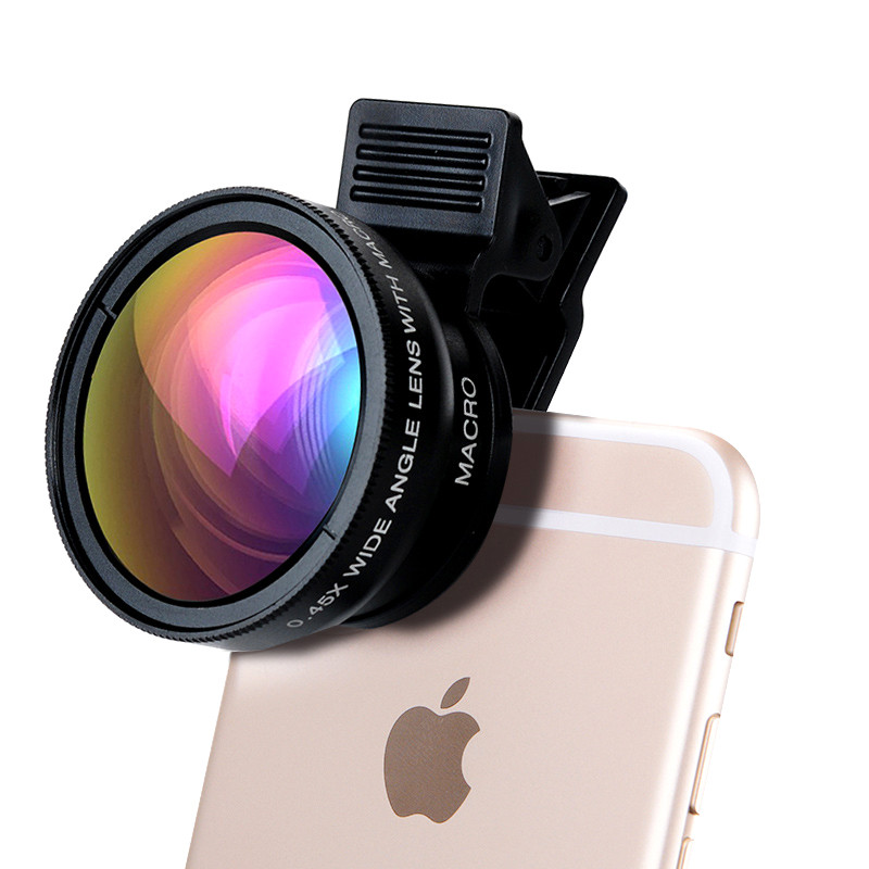 2in1 HD Phone Camera Lenses For Asus zenfone 2 ze551ml 0.45X Wide Angle 12.5X Macro Lens For iPhone 7 ZTE blade v7 lite Clips