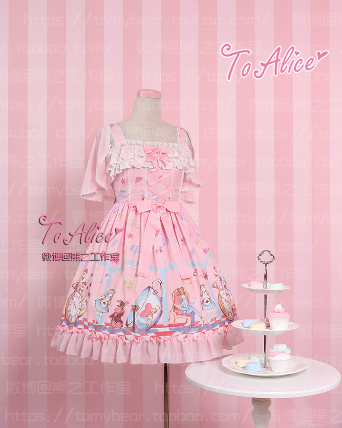 4f776f596ba1b Super Cute To Alice Alice in Wonderland Fairytale JSK Lolita Dress  Suspender Sleeveless Fancy Dolly Dress with Detachable Cape