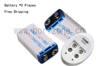 Free Shipping 2PCS 9V Li Ion 780mAh Microphones Battery And One Charger For Pile PP3 6LR61