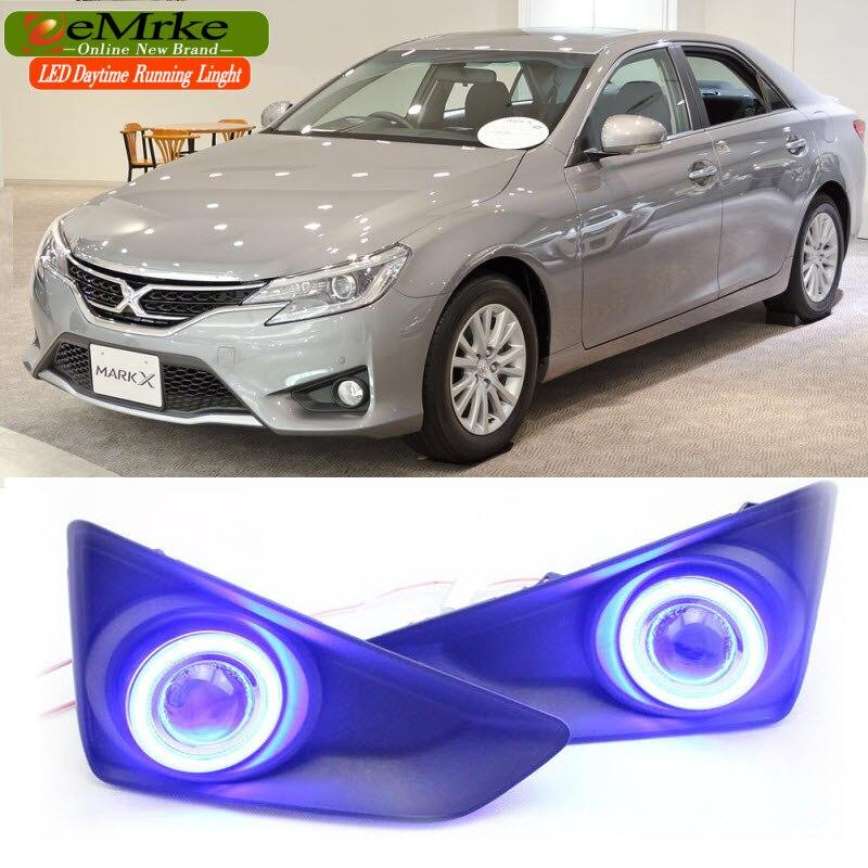 eeMrke LED Daytime Running Lights For Toyota Reiz Mark X 2013 2014 Fog Lights H11 55W Halogen COB Angel Eyes DRL Kits