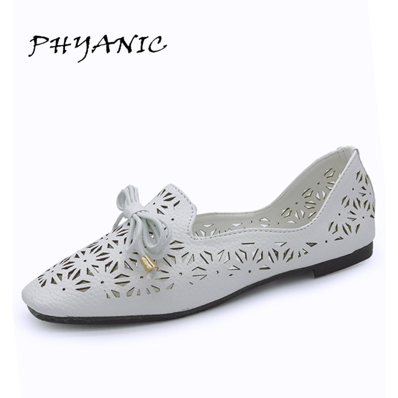 PHYANIC New High Quality 2017 Summer Woman Flats Fashion Ballet Shoes Cut-Outs Design 2 Colors Handwork Vintage Shoes PHY5194 phyanic summer style shoes woman 2017 new gladiator sandals platform flats fashion creepers women flat shoes 3 colors phy4044