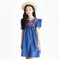 Bohemian Girls Dress Summer Fashion Plaid Cotton Elegant Dresses For Girls Vintage Denim Dress Kids Cute