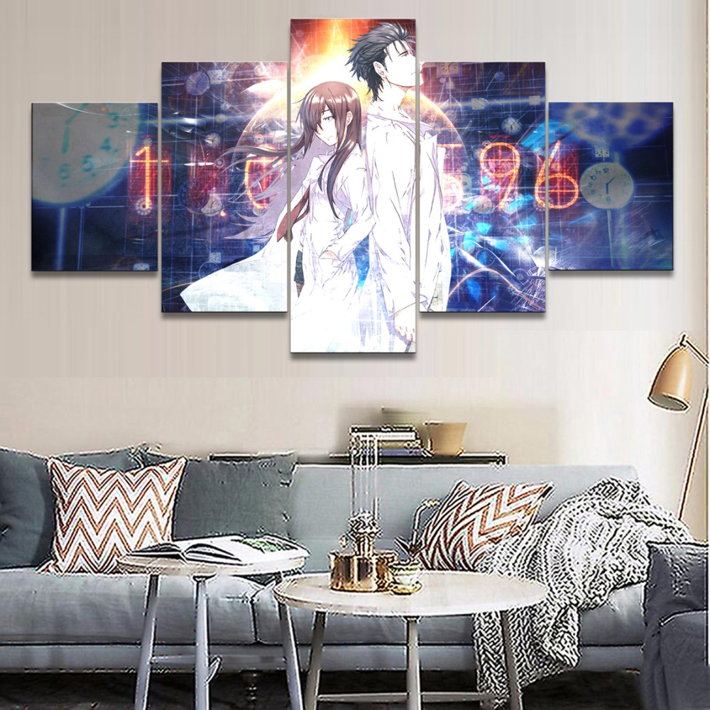 Anime Steins Gate Modern HD Print Canvas Printed 5 Pieces Home Print Poster Canvas Painting Wall Art Living Room Artwork in Painting Calligraphy from Home Garden