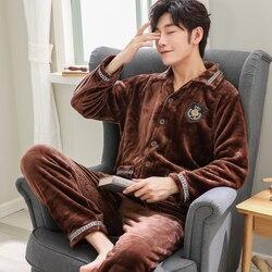 Зимние теплые мужские пижамные комплекты, штаны для сна, одежда для отдыха, мужские пижамы и пижамы, фланелевые пижамы, Мужская домашняя оде...