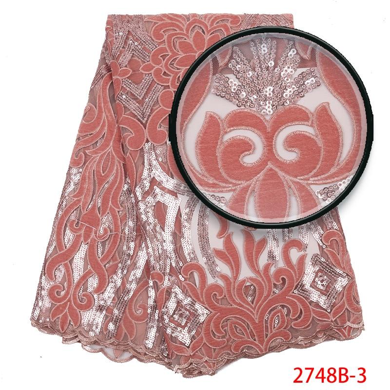 Hot Sale Velvet Lace Fabric High Quality African Lace Fabric With Sequins 2019 French Lace Fabric For Party Dresses KS2748-3