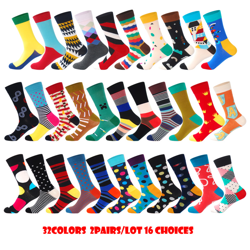 Men Happy Socks With Dot Striped Figure Design Colorful Comed Cotton Calcetines Divertidos Casual Christmas Crew Socks 2Pairs