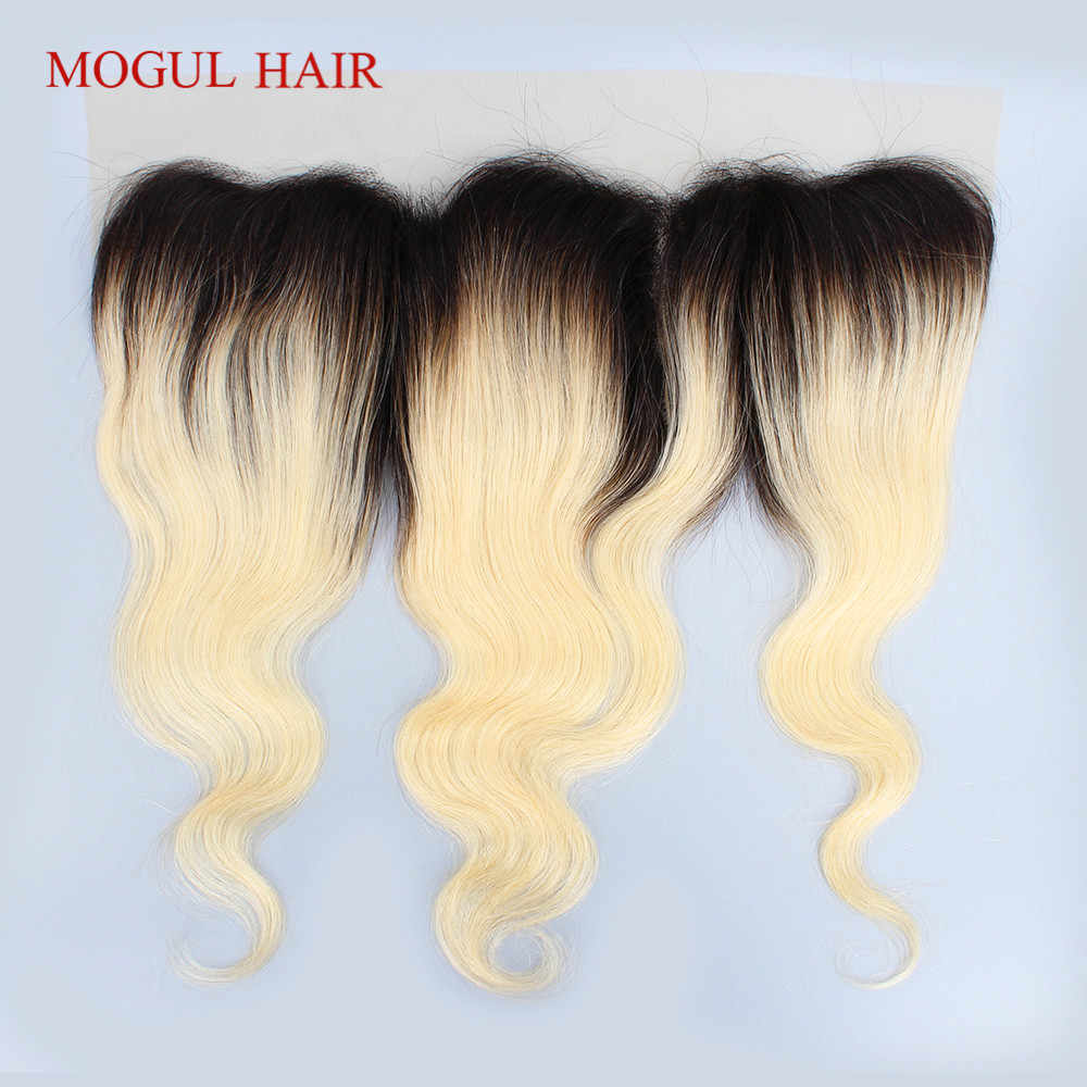 MOGUL HAIR T 1B 613 Dark Root Platinum Blonde 4*13 Lace Frontal Free Part Middle Part Brazilian Body Wave Remy Human Hair