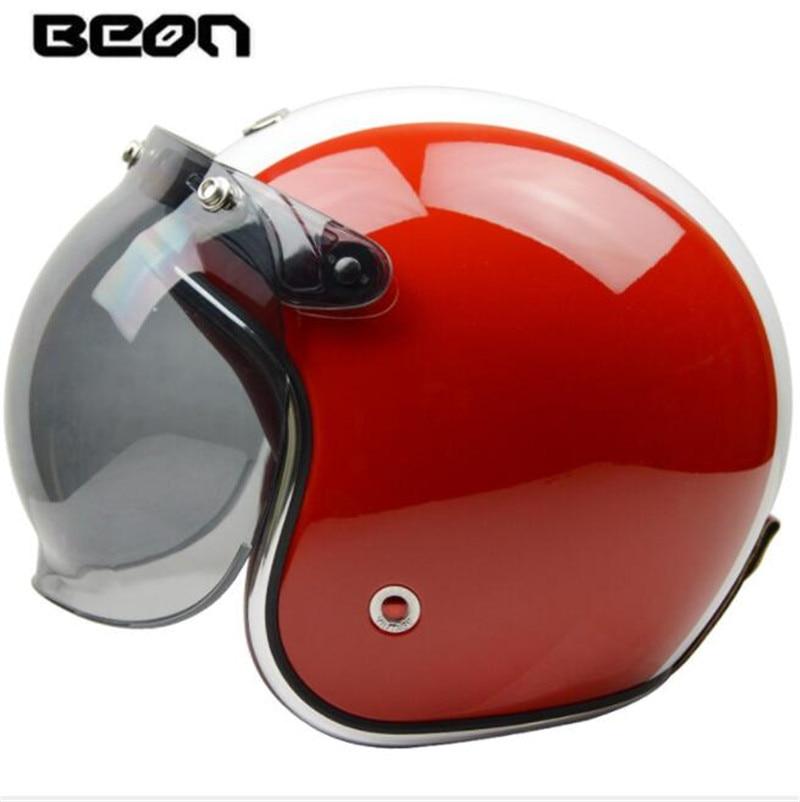 BEON 3 4 Open Face Helmet Retro Vintage Motorcycle Helmet German Style Scooter Chopper Cruiser Biker Moto Helmet Bubble Visor in Helmets from Automobiles Motorcycles