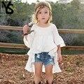 2-8 T Bebê Meninas Camisa Dos Miúdos Top Meia Manga Sopro Bonito Blusa Branca Crianças Roupas