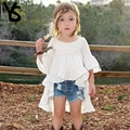 2-8T Baby Girls Shirt Kids Top Half Puff Sleeve White Cute Blouse Children Clothes