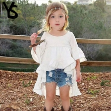 2-8T Baby Girls Shirt Kids Top Half Puff Sleeve White Cute Blouse Children Clothes