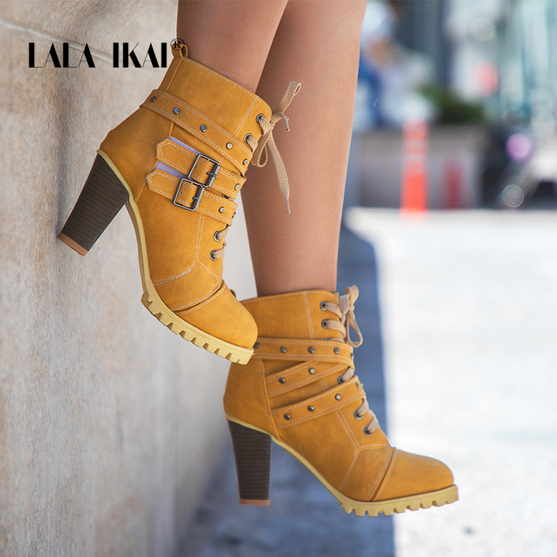 LALA IKAI Women Rivet Lace-Up Winter Boots Hook & Hoop Buckle Nubuck High Heel Round Toe Platform Chunky Boots 014C2241 -4 lace up hoop deor drop shoulder sweatshirt