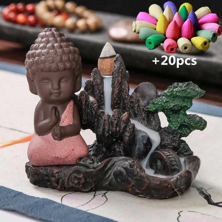 שרף מסלעת נוף בודהה זרימה חוזרת קטורת צורב מפל קטורת בעל בית תפאורה מדיטציה מתנה + 20Pcs משלוח קונוסים