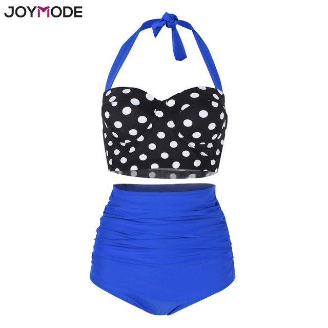 b6f5f823b0 JOYMODE Two Pieces Retro Polka Dot High Waist Bikini Swimsuits Underwire  Halter Neck Plus Size M 3XL Women Swimwear