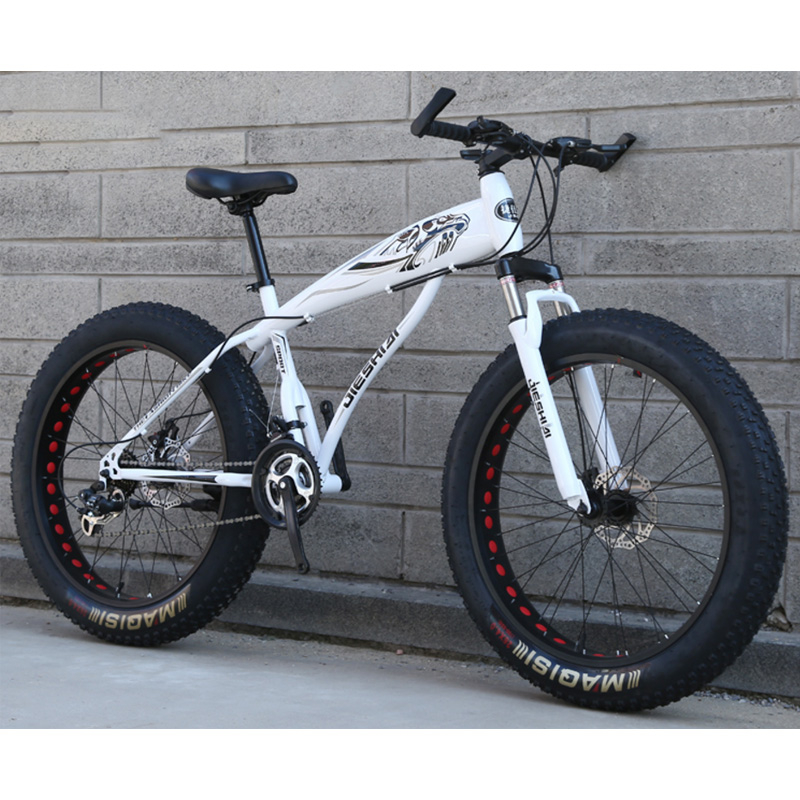 Mountain Snow Bike  Hollow Ring Double Disc Brake Wide Wheel 24 Inches 21 Speeds Spoke 4.0 Wide Tire