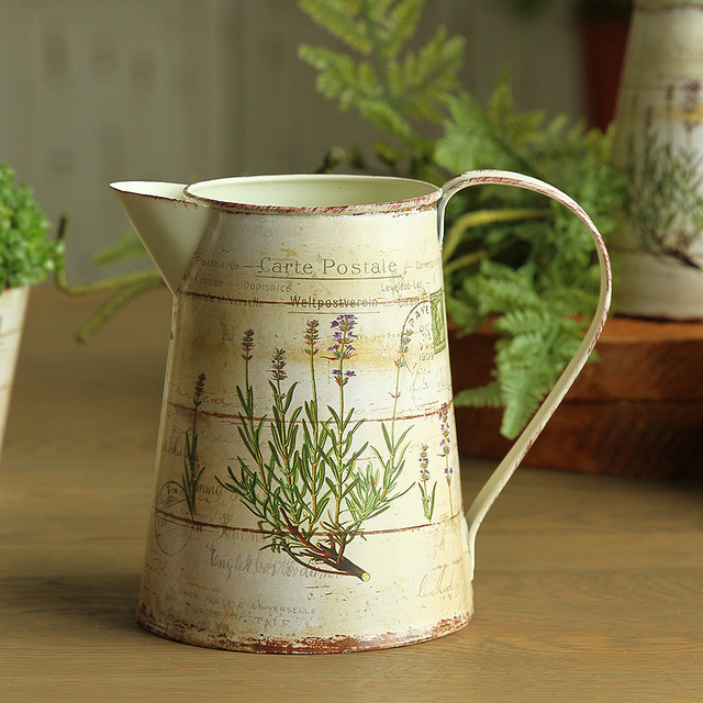 Beau American Country Garden Decor Home Furnishing Creative Painting Iron Vase  Floral Lavender Tin Kettle