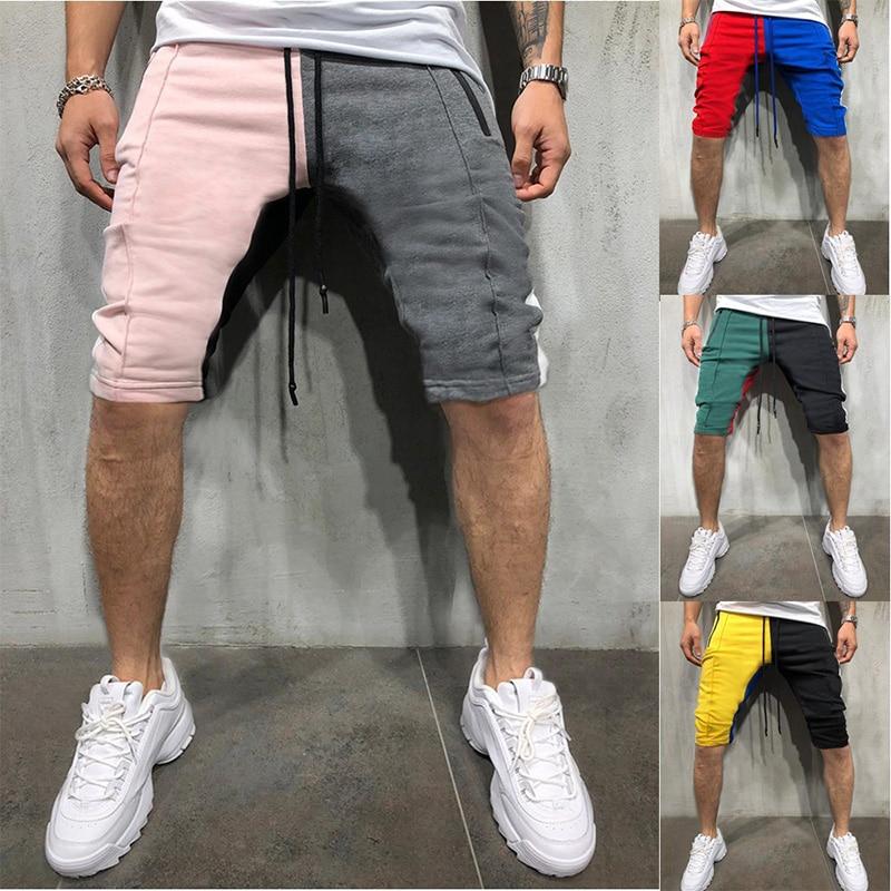 2019 Summer Casual Shorts Men Streetwear Hip Hop Patchwork Shorts Casual Fitness Zipper Pockets Men's Striped Shorts