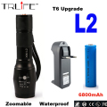High Quality Waterproof 8000lm CREE XM-L2 LED Flashlight Torch Zoomable Lamp Light+1x Rechargeable 18650 Battery+Charger