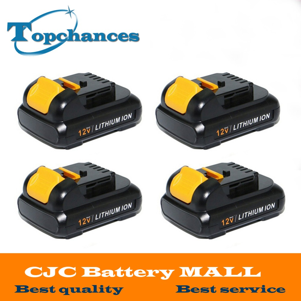 4PCS High Quality power tool Battery For Dewalt 12V 2.0Ah 2000mah MAX Li-ion DCB120 DCD710 DCF813 DCF815 DCF610 high quality brand new 3000mah 18 volt li ion power tool battery for makita bl1830 bl1815 194230 4 lxt400 charger