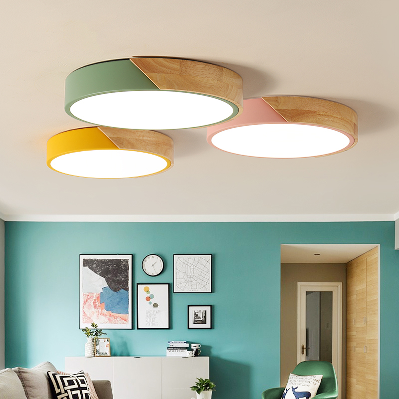 Nordic Wooden LED Ceiling Lamp fixtures Bedroom Children's room illumination Circular ceiling lighting circular ceiling wooden lighting lamps